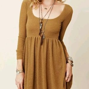 Free people Hippie gold shimmer dress M